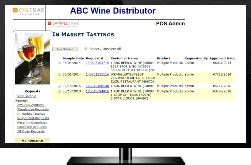 SampleTrak - Beverage Sample Software - In Market Tastings